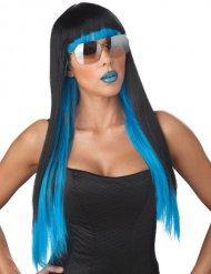 Perruque cheveux longs noirs et bleus