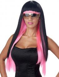 Perruque cheveux longs pop star noir rose