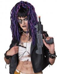 Perruque gothique longue noir et violet femme