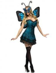 Déguisement féerique de papillon pour femme - bleu - noir