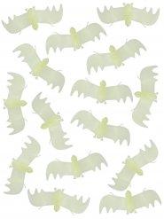 Décorations chauves-souris phosphorescentes Halloween blanches 13 cm