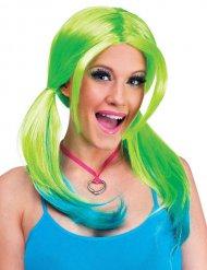 Perruque femme vert-bleu
