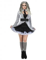Gothic Ghost Halloween Ladies Costume black-white
