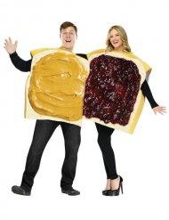Déguisement couple tartines beurre de cacahuète et marmelade adulte