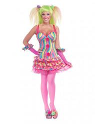 Déguisement clown sexy rose et multicolore femme