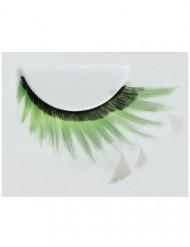 Faux-cils avec plumes femme noir-vert-blanc