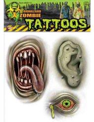 Tatouages zombie mutant vert Halloween