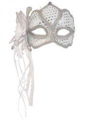 Masque Vénitien blanc et argenté adulte