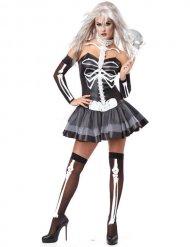 Déguisement femme squelette sexy noir et blanc