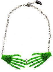 Collier chaîne pendentif squelette vert mains