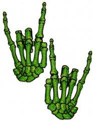 Lot de 2 patchs mains vertes squelettes cornes