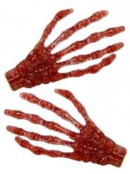 2 barrettes cheveux main squelette rouge pailleté 7 cm