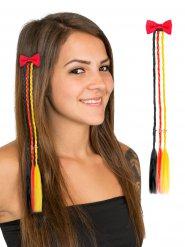 Pince à cheveux femme avec tresses noir rouge et jaune