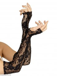 Mitaines longues en dentelle noire femme