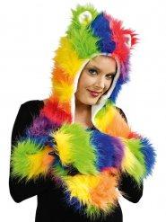 Bonnet peluche multicolore avec gants et oreilles adulte