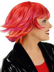 Perruque courte rouge avec mèches oranges et roses femme