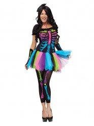 Déguisement squelette multicolore femme Halloween