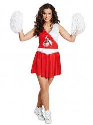 Déguisement femme cheerleader FC Cologne rouge-blanc