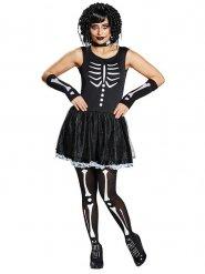 Déguisement squelette noir blanc femme