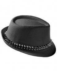 Chapeau borsalino punk avec clous noirs