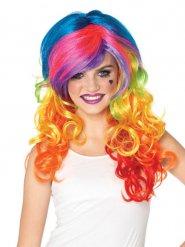 Perruque luxe rainbow multicolore femme