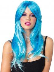 Perruque luxe sirène bleue et blanche adulte