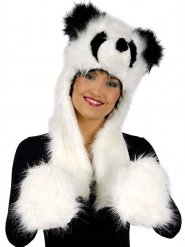 Capuche panda en peluche avec gants intégrés