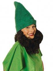 Bonnet nain vert avec barbe adulte