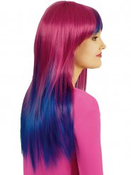Perruque longue tie and dye rose et bleue femme