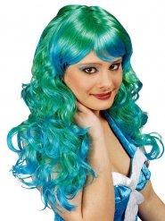 Perruque longue sirène verte et turquoise femme