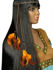 Tour de tête indien avec plumettes orange adulte