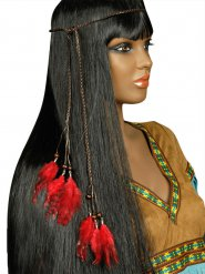 Tour de tête indien avec plumettes rouges adulte