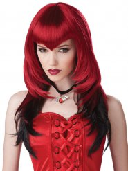 Perruque de vampire gothique rouge et noire adulte Halloween