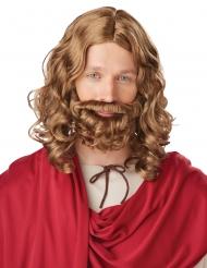 Perruque bouclée barbe Jésus châtain