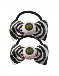 2 élastiques noeud papillon avec oeil