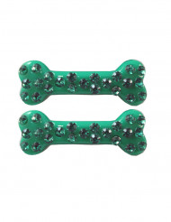 2 barrettes cheveux os strass vert 6 cm