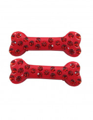 2 barrettes cheveux os strass rouge 6 cm