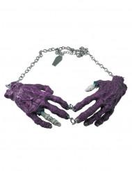 Collier gothique chaîne pendentif mains zombies violettes