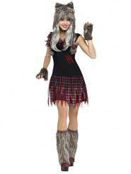 Déguisement loup-garou femme gris-rouge