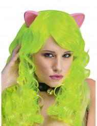 Perruque fantaisie vert néon avec oreilles de chat