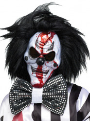 Masque Horreur de Clown blanc et noir avec perruque pour Halloween