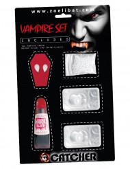 Kit accessoire vampire avec lentilles fantaisie blanches adulte