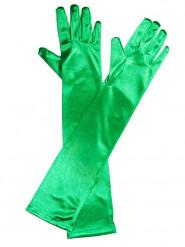 Gants longs satinés verts adulte