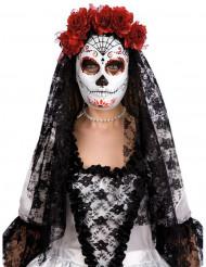 Masque dia de los muertos avec roses rouges adulte Halloween