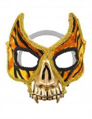 Masque vénitien motif tigre avec dents en or