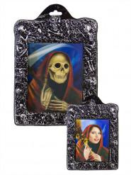 Cadre lenticulaire femme rouge squelette