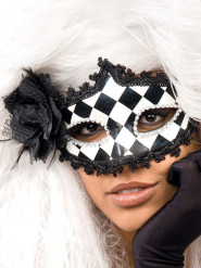 Masque vénitien baroque Arlequin damier pour Halloween blanc noir argenté