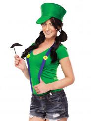Kit déguisement plombier vert jeux-vidéo femme