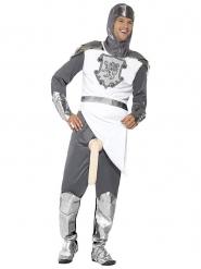 Déguisement de chevalier frivole blanc argenté