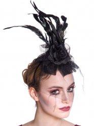 Coiffe noire avec plumes et voile femme